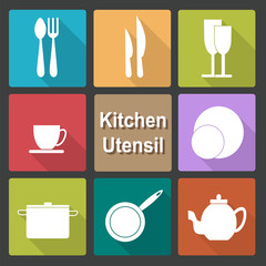 Icons set of kitchen utensil in flat design style - colored