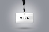 MBA or Master of Business Administration on badge poster