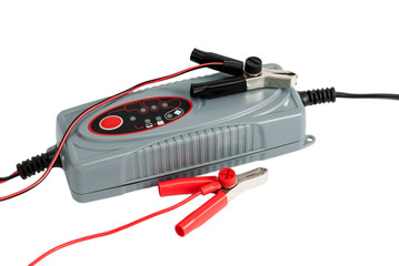 Modern electronic charger for car battery with terminals and jum