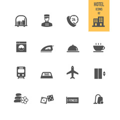 Hotel icons set. Vector illustration.