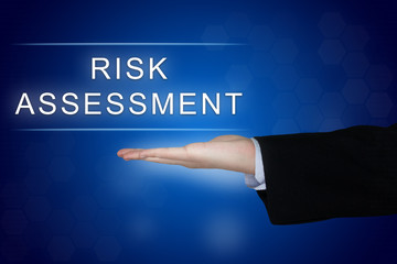 risk assessment button on blue background