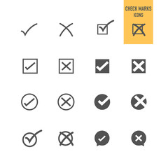 Check mark icons set. Vector illustration.