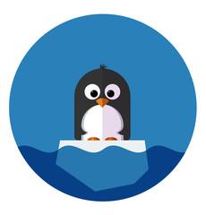 Illustration of Penguin on a ice floe