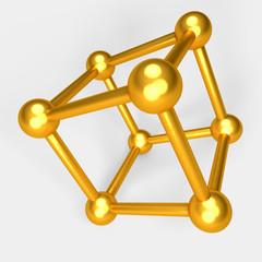 3d illustration of golden atom model on white background