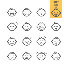 Baby icons set. Emotional baby. Vector illustration.