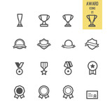 Set of award icons. Vector illustration. poster