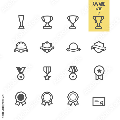 Set of award icons. Vector illustration. - 81815694