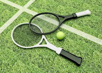 Tennis; rackets; court; grass.