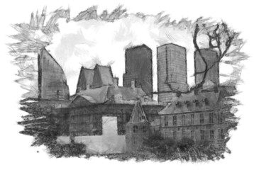 Hague architecture pencil drawing