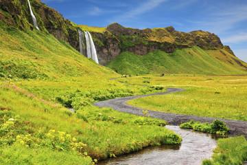 Selyalandfoss waterfall and fields