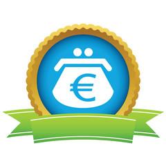 Gold euro purse logo
