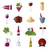 Wine flat icons set