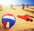Volleyball in the sand with sandals at the beach - 81818064