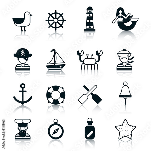 Nautical Icons Black - 81818063