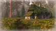 Leinwandbild Motiv Hut on the Edge of the Forest, 3d cg