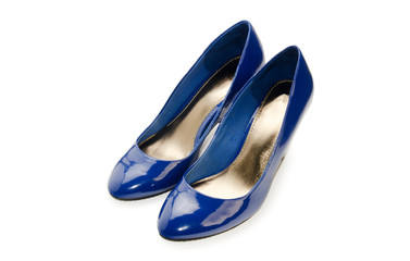 Blue woman shoes isolated on a white background