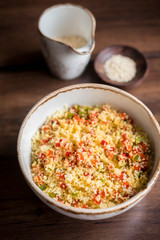 Couscous with green and red bell pepper