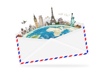 illustration of an envelope full of famous monument
