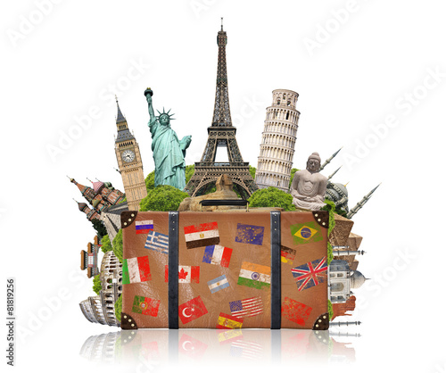 Foto op Plexiglas Artistiek mon. illustration of a suitcase full of famous monument