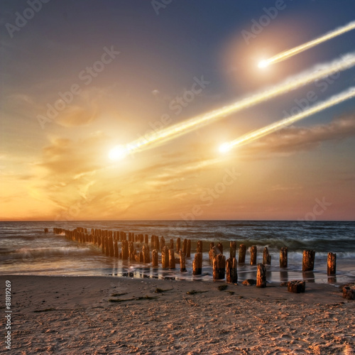 Leinwanddruck Bild Meteorite impact on a planet in space