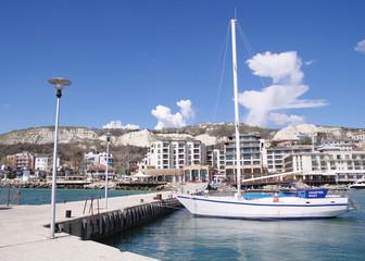 Marine harbor with boat in town Balchik, Bulgaria