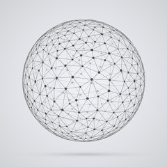 Global  network, sphere. Abstract geometric spherical shape with