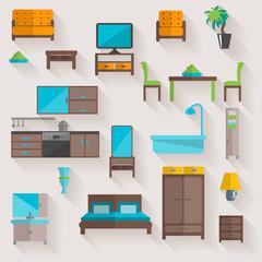Furniture home flat icons set
