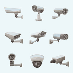 Surveillance Camera Realistic Icons