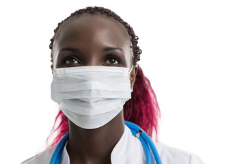 African female doctor in mask