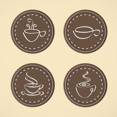 Cups for coffee, tea.