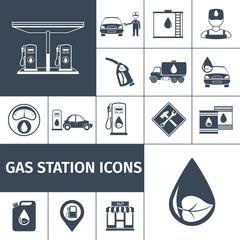 Gas Station Icons Black