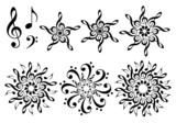 Fototapety abstract music flowers, vector set