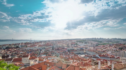 View of the historical Lisbon Baixa downtown and Tagus River