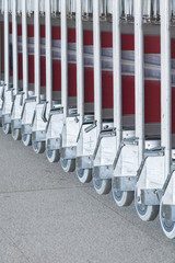luggage carts at modern airport