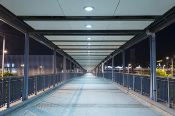 Empty Pedestrian Walkway at night