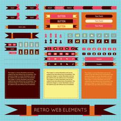 Vector flat retro vintage web elements set.