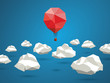Low poly red balloon flying between polygonal clouds in the sky - 81821895