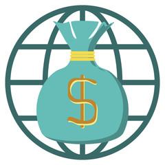 Money revolves around the world ,Vector cartoon business