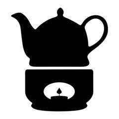 Teekanne mit Stövchen Silhouette