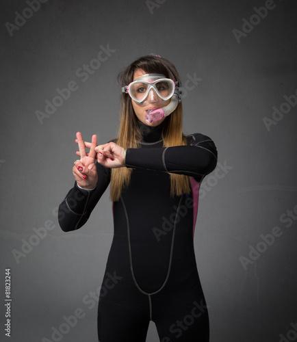 Deurstickers Duiken diver hashtag gestures