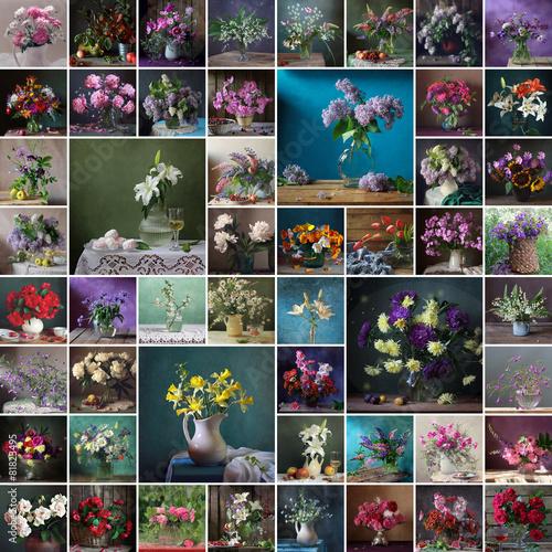 Deurstickers Narcis Натюрморт, коллаж, цветы, букет. Фон.