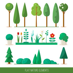 Set of nature elements: trees, spruce, bushes, flowers, grass.