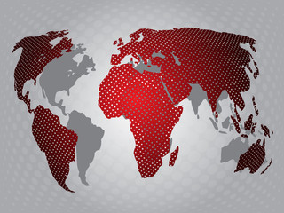 World red map with shadow