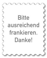 Symbol Briefmarke, Bitte frankieren. Danke!