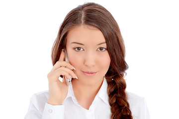 Beautiful young woman portrait, talking by mobile phone