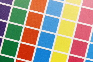Close-up of cmyk test print from above