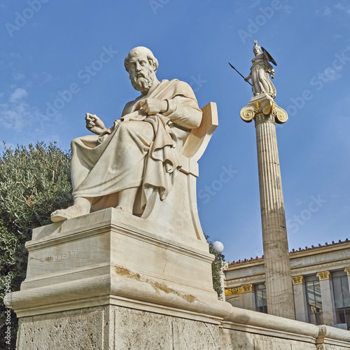 Staande foto Athene Plato the Greek philosopher and Athena statues