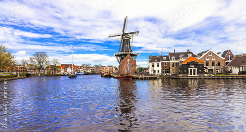 Foto op Canvas Amsterdam Traditional Holland - vamals and windmills (Haarlem)