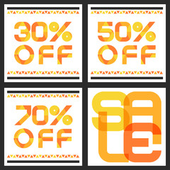 Sale banner with 30, 50, 70 percent discount. Abstract vector ba