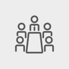 Business meeting in office thin line icon